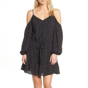 NWT Paige Cold Shoulder Dress Black White Dots NEW